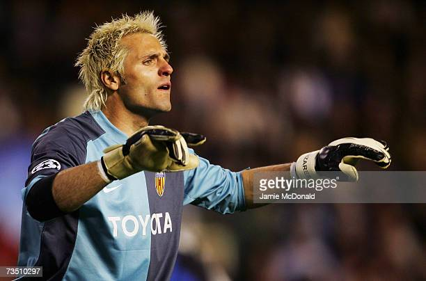 Santiago Canizares of Valencia shouts orders during the UEFA Champions League last of sixteen second leg match between Valencia and Inter Milan on...