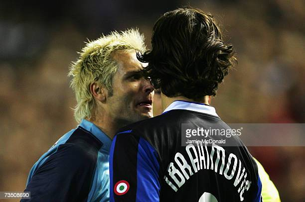 Santiago Canizares of Valencia squares up to Zlatan Ibrahimovic of Inter Milan during the UEFA Champions League last of sixteen second leg match...