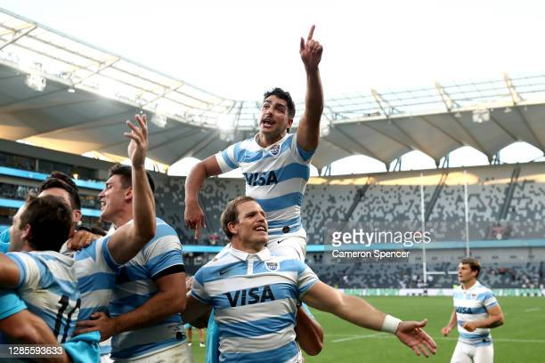 Santiago Carreras of Argentina celebrates after winning the 2020 Tri-Nations rugby match between the New Zealand All Blacks and the Argentina Los...