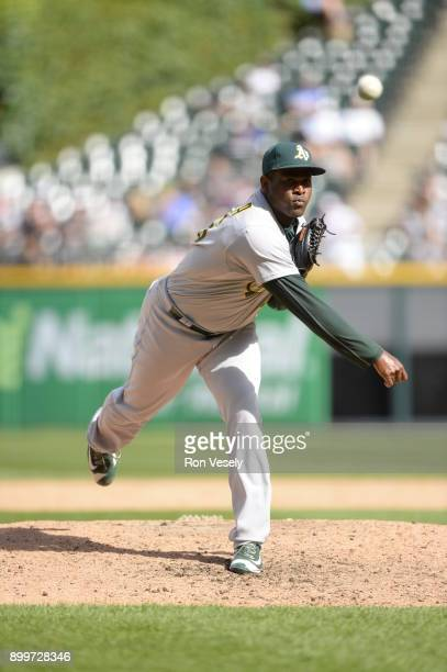 Santiago Casilla of the Oakland Athletics pitches against the Chicago White Sox on June 25 2017 at Guaranteed Rate Field in Chicago Illinois
