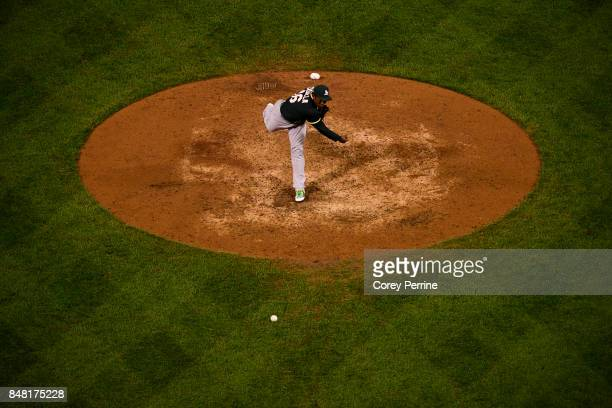 Santiago Casilla of the Oakland Athletics pitches against the Philadelphia Phillies during the eighth inning at Citizens Bank Park on September 16...