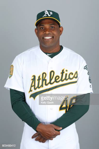 Santiago Casilla of the Oakland Athletics poses during Photo Day on Thursday February 22 2018 at Hohokam Stadium in Phoenix Arizona