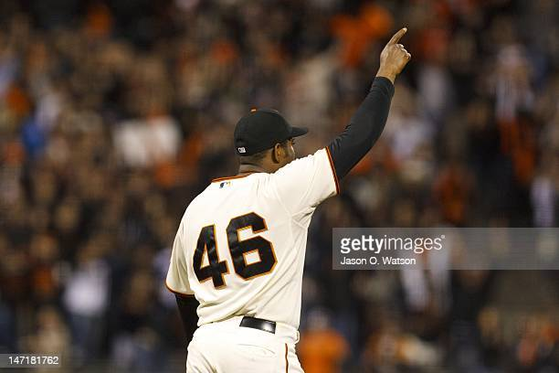 Santiago Casilla of the San Francisco Giants celebrates after the game against the Los Angeles Dodgers at ATT Park on June 26 2012 in San Francisco...