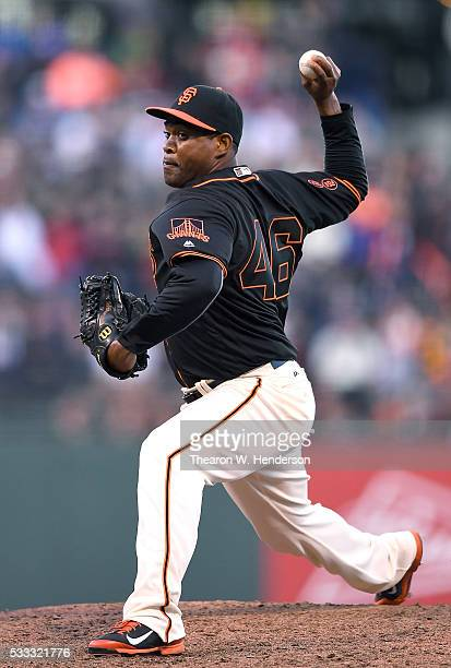 Santiago Casilla of the San Francisco Giants pitches against the Chicago Cubs in the top of the ninth inning at ATT Park on May 21 2016 in San...