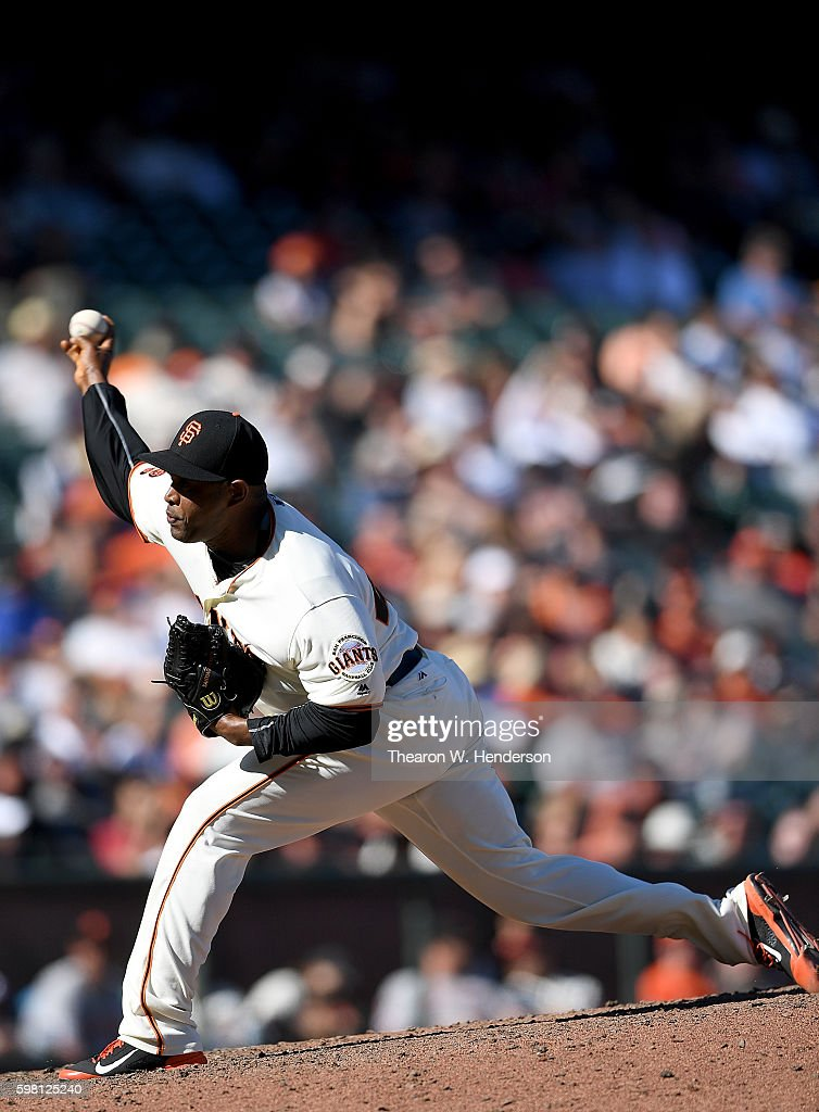 Santiago Casilla #46 of the San Francisco Giants pitches against the Arizona Diamondbacks in the top of the ninth inning at AT&T Park on August 31, 2016 in San Francisco, California.