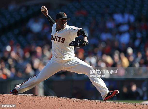 Santiago Casilla of the San Francisco Giants pitches against the Arizona Diamondbacks during the game at ATT Park on Wednesday August 31 2016 in San...