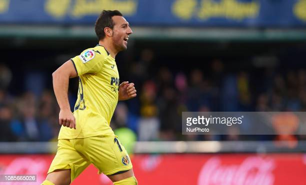 Santiago Cazorla of Villarreal celebrates a goal during the La Liga Santander match between Villarreal and Athletic Club de Bilbao at La Ceramica...