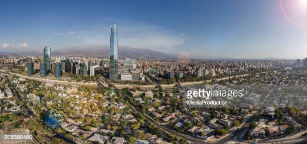 santiago chile aerial panoramic view - santiago chile stock pictures, royalty-free photos & images