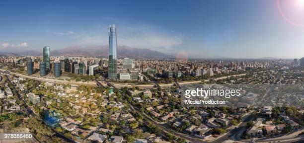 vista panorâmica aérea de santiago chile - santiago região metropolitana de santiago - fotografias e filmes do acervo