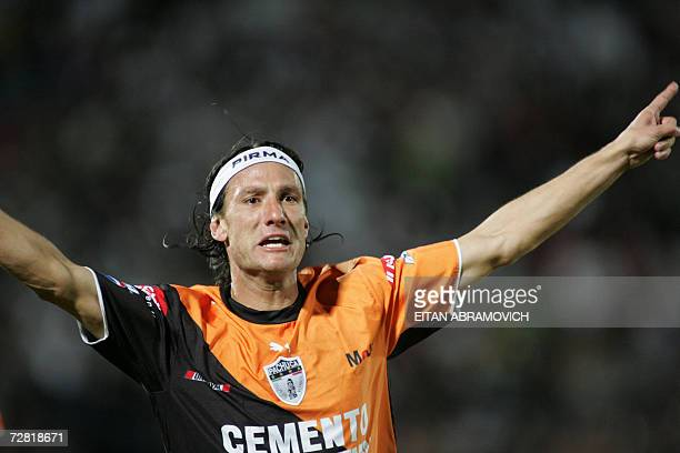 Andres Gabriel Caballero of Mexico s Pachuca celebrates after scoring  against Chile s Colo Colo in their Copa 0b3422b549b78