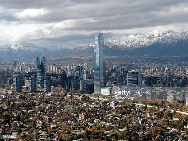 Santiago Chile clean clear city skyline and Andes