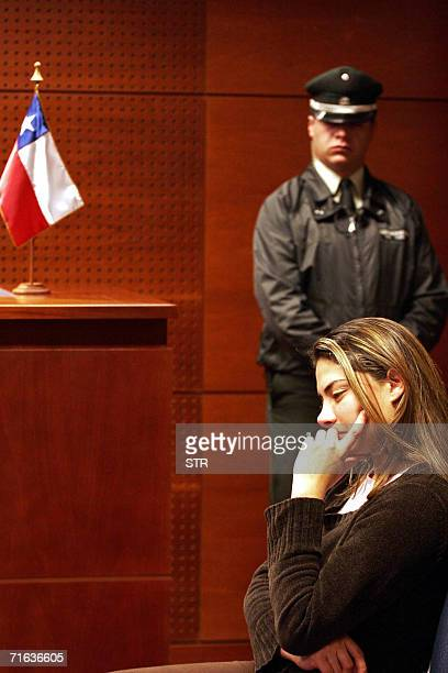 Colombian Lizeth Alfaro Lopez waits to be judged in Santiago 12 August 2006 Ex beauty peageant winner Alfaro Lopez was arrested with her Israeli...