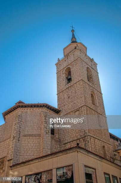 santiago church valladolid - flying buttress stock photos and pictures