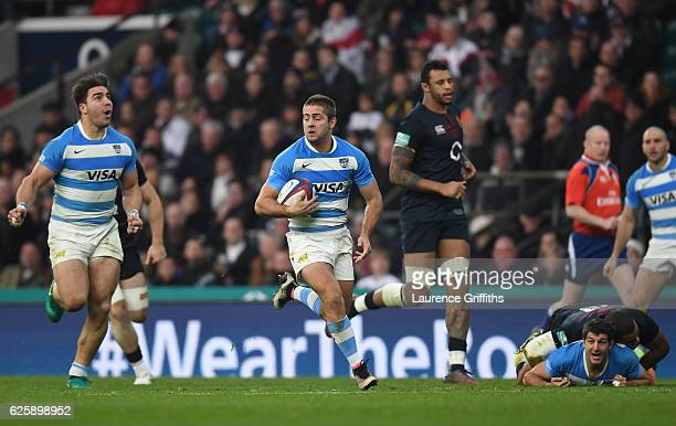 Santiago Cordero of Argentina breaks through to score his sides second try during the Old Mutual Wealth Series match between England and Argentina at...