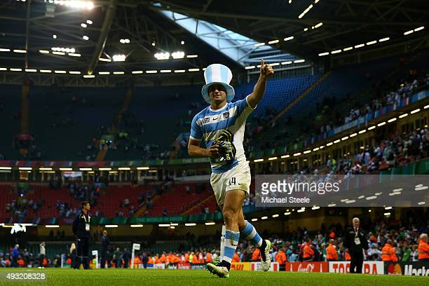 Santiago Cordero of Argentina celebrates after winning the 2015 Rugby World Cup Quarter Final match between Ireland and Argentina at the Millennium...