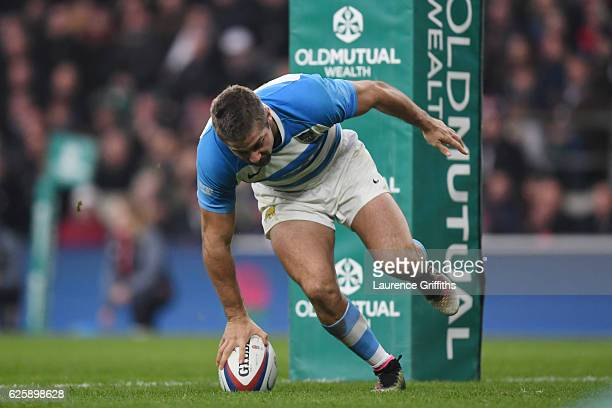 Santiago Cordero of Argentina scores his sides second try during the Old Mutual Wealth Series match between England and Argentina at Twickenham...