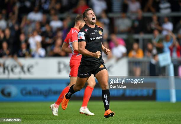 Santiago Cordero of Exeter Chiefs celebrates scoring his side's first try during the Gallagher Premiership Rugby match between Exeter Chiefs and Sale...
