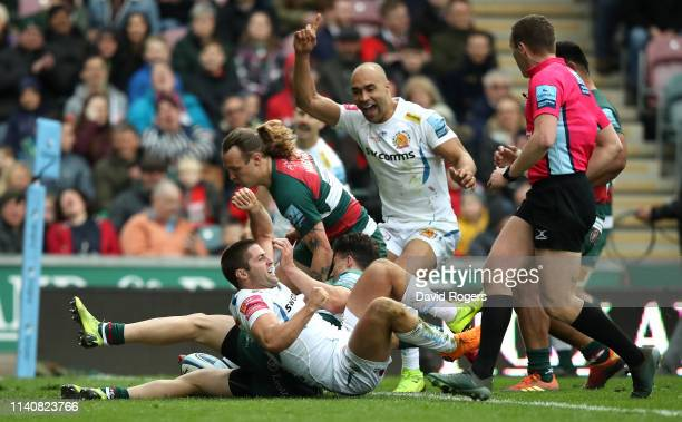 Santiago Cordero of Exeter Chiefs celebrates with team mate Olly Woodburn after scoring a try during the Gallagher Premiership Rugby match between...