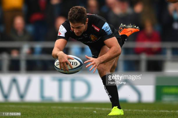 Santiago Cordero of Exeter Chiefs scores his sides first try during the Gallagher Premiership Rugby match between Exeter Chiefs and Newcastle Falcons...