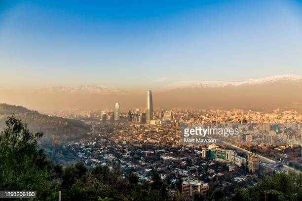 santiago de chile cityscape - chile stock pictures, royalty-free photos & images