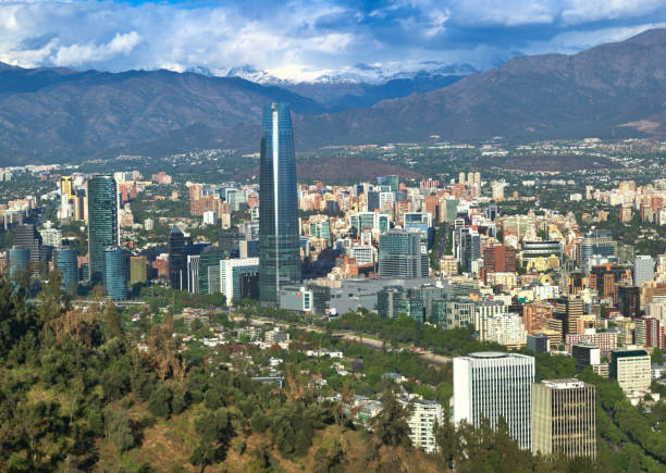 Santiago de Chile clean city skyline by Andes mountains from Parque Metropolitano
