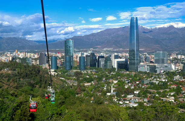 Santiago de Chile modern city skyline by Andes mountains from cable car line at Parque Metropolitano