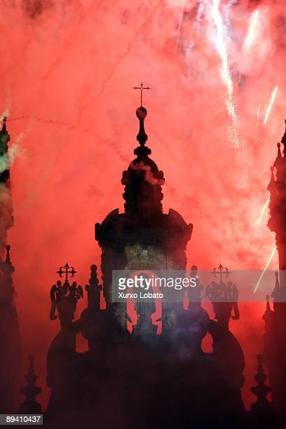 Santiago de Compostela Galicia Facade of Santiago de Compostela cathedral with fireworks in Santiago´s Day