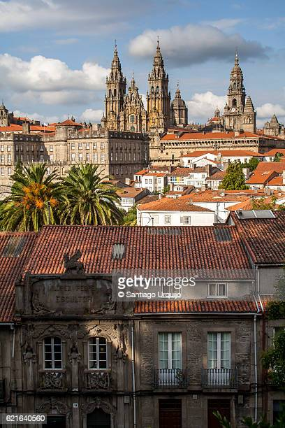 santiago de compostela skyline with cathedral on background - santiago de compostela stock pictures, royalty-free photos & images