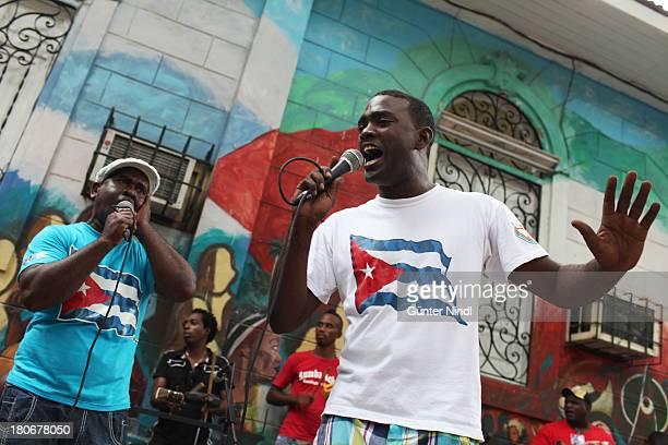 Santiago de Cuba, Cuba, July 9, 2012. Rumberos perform in the Casa del Caribe in Santiago. Rumba is a family of musical rhythms and dance styles in...