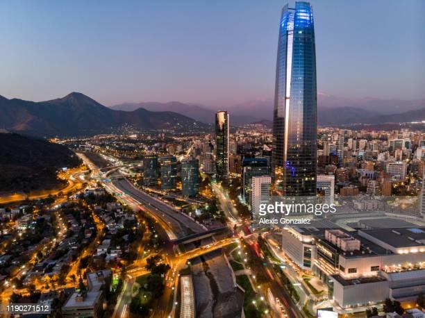 santiago financial district - santiago chile stock pictures, royalty-free photos & images