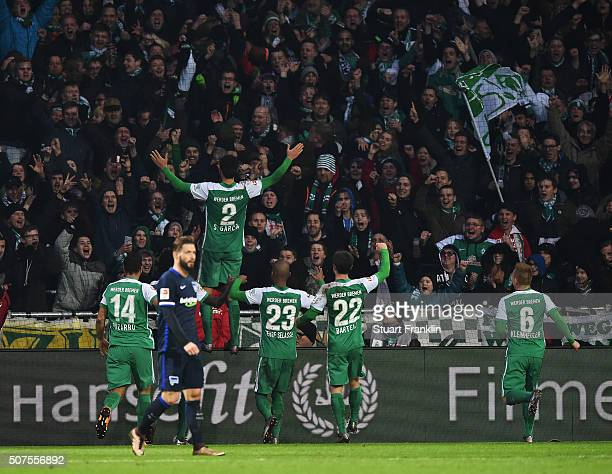 Santiago García of Bremen celebrates scoring the third goal during the Bundesliga match between Werder Bremen and Hertha BSC at Weserstadion on...