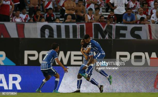 Santiago Garcia of Godoy Cruz celebrates with teammates after scoring the second goal of his team during a match between River Plate and Godoy Cruz...
