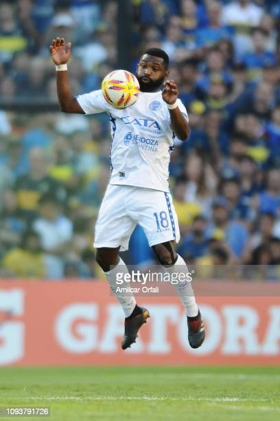 Santiago Garcia of Godoy Cruz controls the ball during a match between Boca Juniors and Godoy Cruz as part of Superliga 2018/19 at Estadio Alberto J...