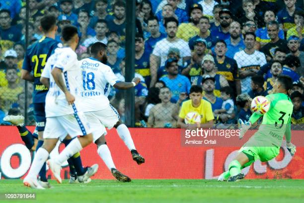 Santiago Garcia of Godoy Cruz kicks the ball during a match between Boca Juniors and Godoy Cruz as part of Superliga 2018/19 at Estadio Alberto J...