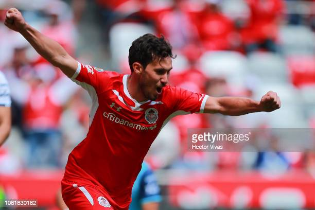 Santiago Garcia of Toluca celebrates after scoring the first goal of his team during the 2nd round match between Toluca and Puebla as part of the...