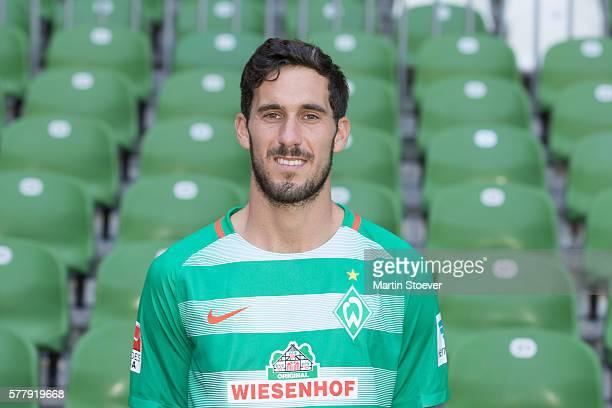Santiago Garcia poses during the offical team presentation of Werder Bremen on July 20 2016 in Bremen Germany