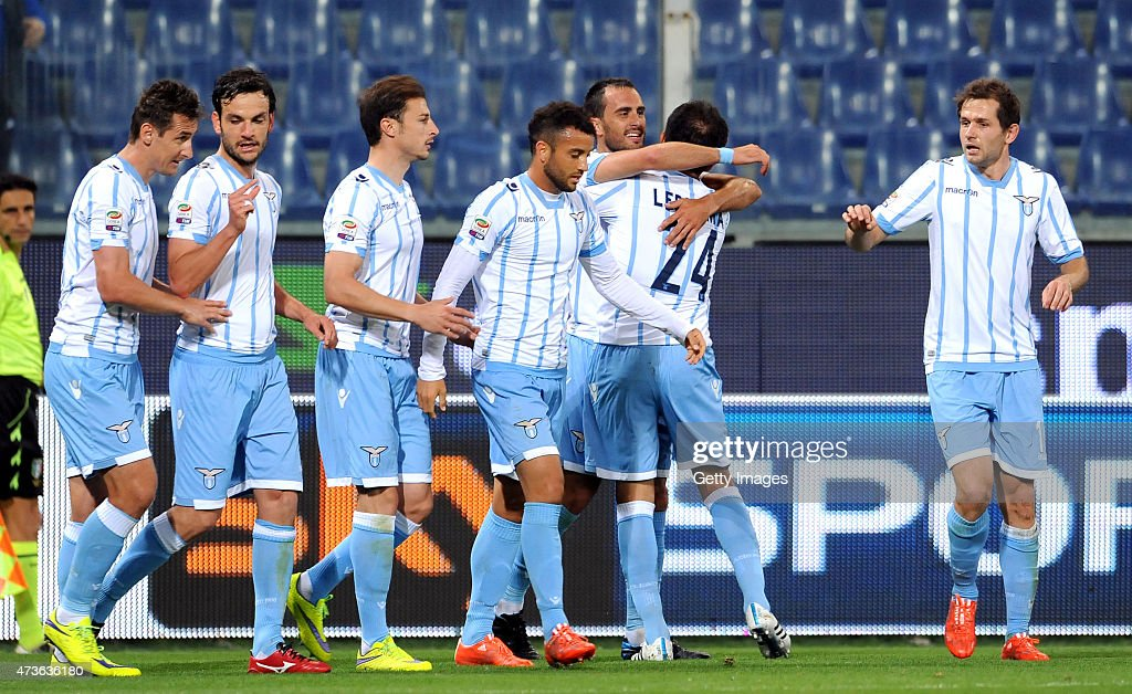 Santiago Gentiletti (3rd from L) of SS Lazio celebrates with team mates after scoring the opening goal of the match during the Serie A match between UC Sampdoria and SS Lazio at Stadio Luigi Ferraris on May 16, 2015 in Genoa, Italy.