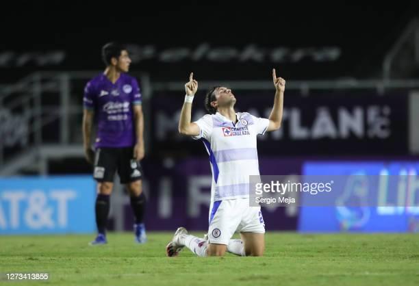 Santiago Gimenez of Cruz Azul celebrates after scoring his team's first goal during the 11th round match between Mazatlan FC and Cruz Azul as part of...