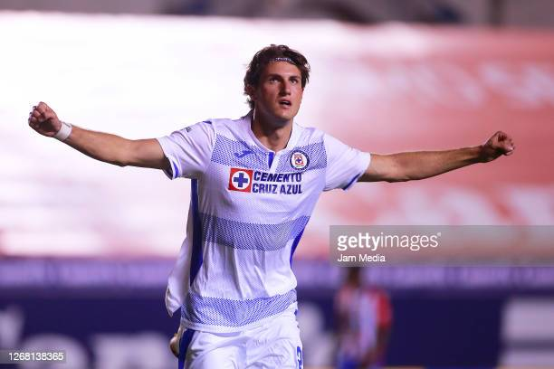 Santiago Gimenez of Cruz Azul celebrates after scoring the third goal of his team during the 6th round match between Atletico San Luis and Cruz Azul...