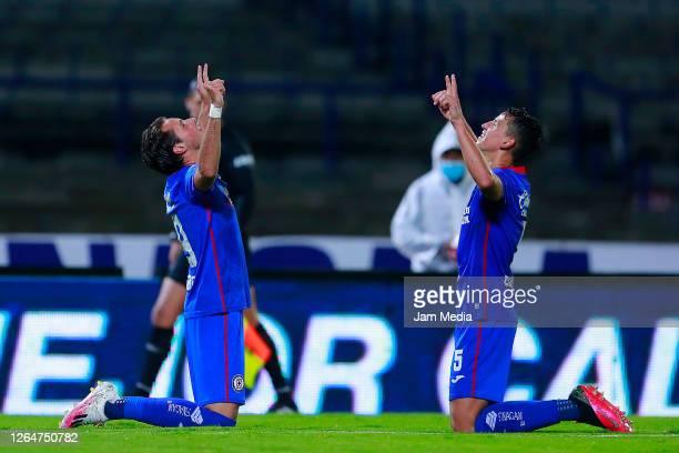 Santiago Gimenez of Cruz Azul celebrates with Igor Lichnovsky after scoring the second goal of his team during the 3rd round match between Cruz Azul...