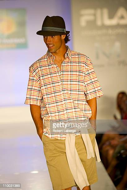 Santiago Giraldo during the fashion show of the BNP Paribas Open at the Indian Wells Tennis Garden on March 12 2011 in Indian Wells California