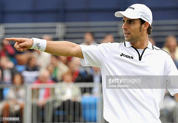Santiago Giraldo of Colombia gestures during his Men's Singles first round match against Jesse Levine of Canada on day one of the AEGON Championships...
