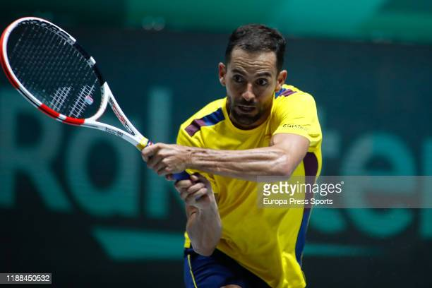 Santiago Giraldo of Colombia in action during the first round, Group D match against Steve Darcis of Belgium during Day 1 of the 2019 Davis Cup at La...