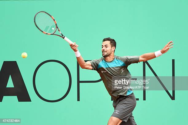 Santiago Giraldo of Colombia in action during the match against Marin Cilic of Croatia at the Geneva Open at Parc des EauxVives on May 21 2015 in...