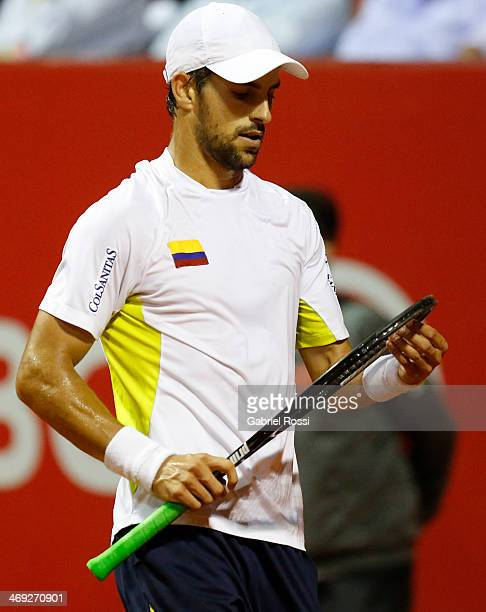 Santiago Giraldo of Colombia looks dejected during a tennis match between David Ferrer and Santiago Giraldo as part of ATP Buenos Aires Copa Claro on...