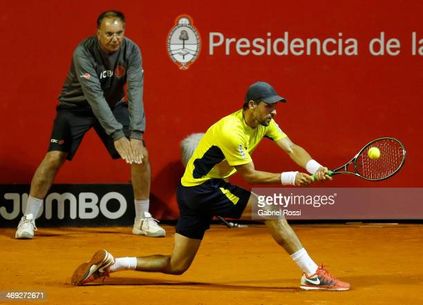 Santiago Giraldo of Colombia makes a shot during a tennis match between David Ferrer and Santiago Giraldo as part of ATP Buenos Aires Copa Claro on...