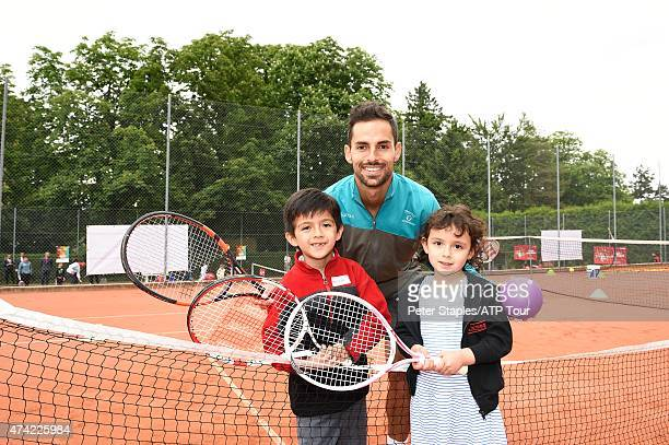 Santiago Giraldo of Colombia poses for a photo after playing mini tennis at Kids Day at the Geneva Open Parc des EauxVives on May 20 2015 in Geneva...