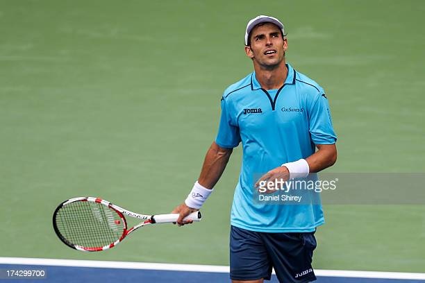 Santiago Giraldo of Colombia reacts after beating Jack Sock at the BBT Atlanta Open in Atlantic Station on July 23 2013 in Atlanta Georgia