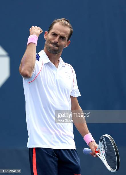 Santiago Giraldo of Colombia reacts to a point against Alexander Bublik of Kazakhstan during their Men's Singles first round match on day two of the...