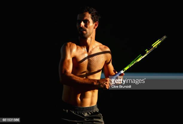 Santiago Giraldo of Columbia during his practice session on day four of the BNP Paribas Open at Indian Wells Tennis Garden on March 9 2017 in Indian...
